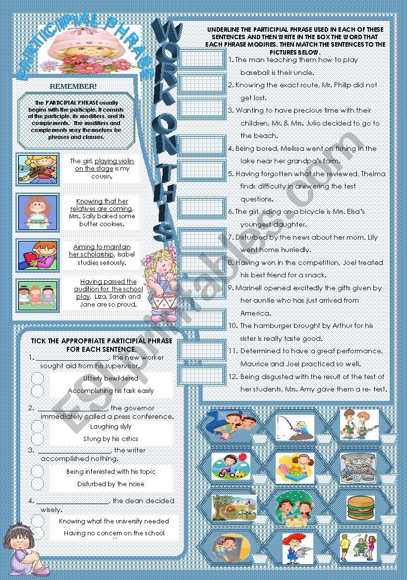 Participial Phrase Esl Worksheet By Mavic15