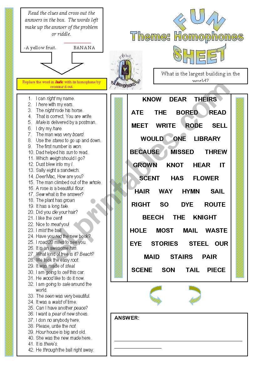 Fun Sheet Theme: Homophones worksheet