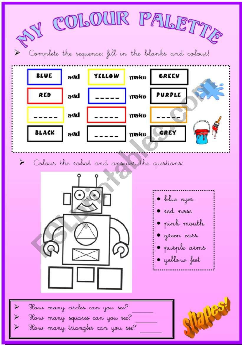 Colours and shapes worksheet