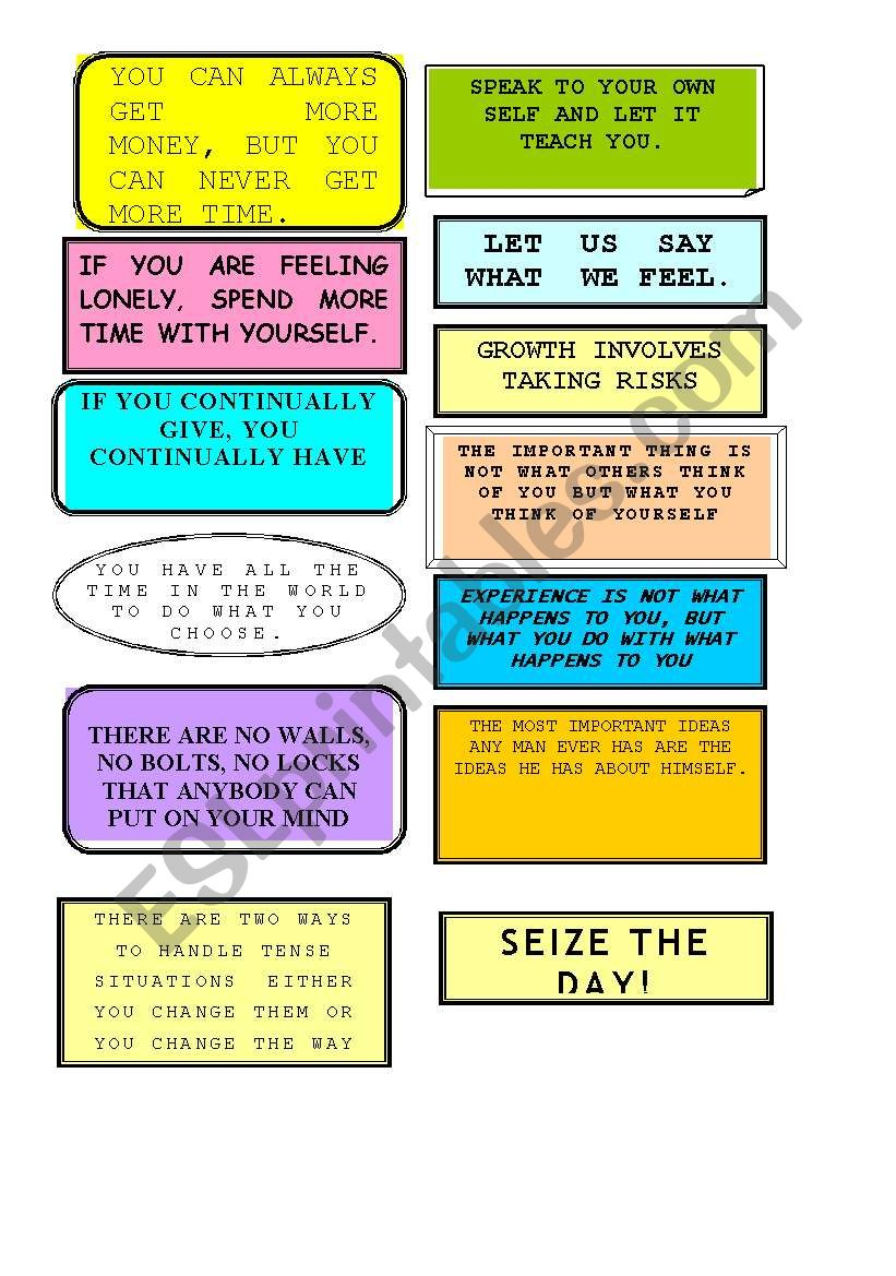 Phrases to reflect on (2  Pages)