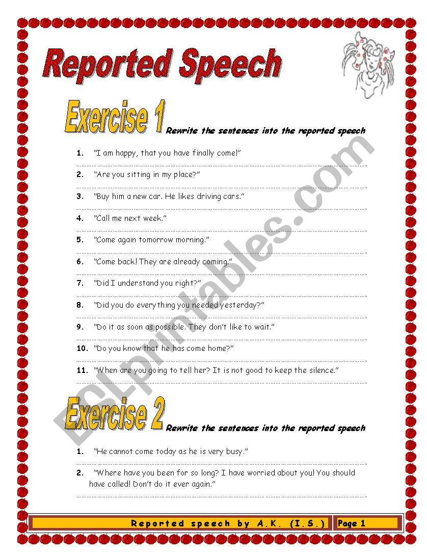 8 pages/10 exercises/125 sentences REPORTED SPEECH