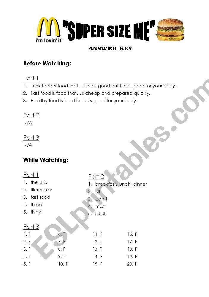 Super Size Me Worksheet Answer Key Esl Worksheet By Liquidnuance