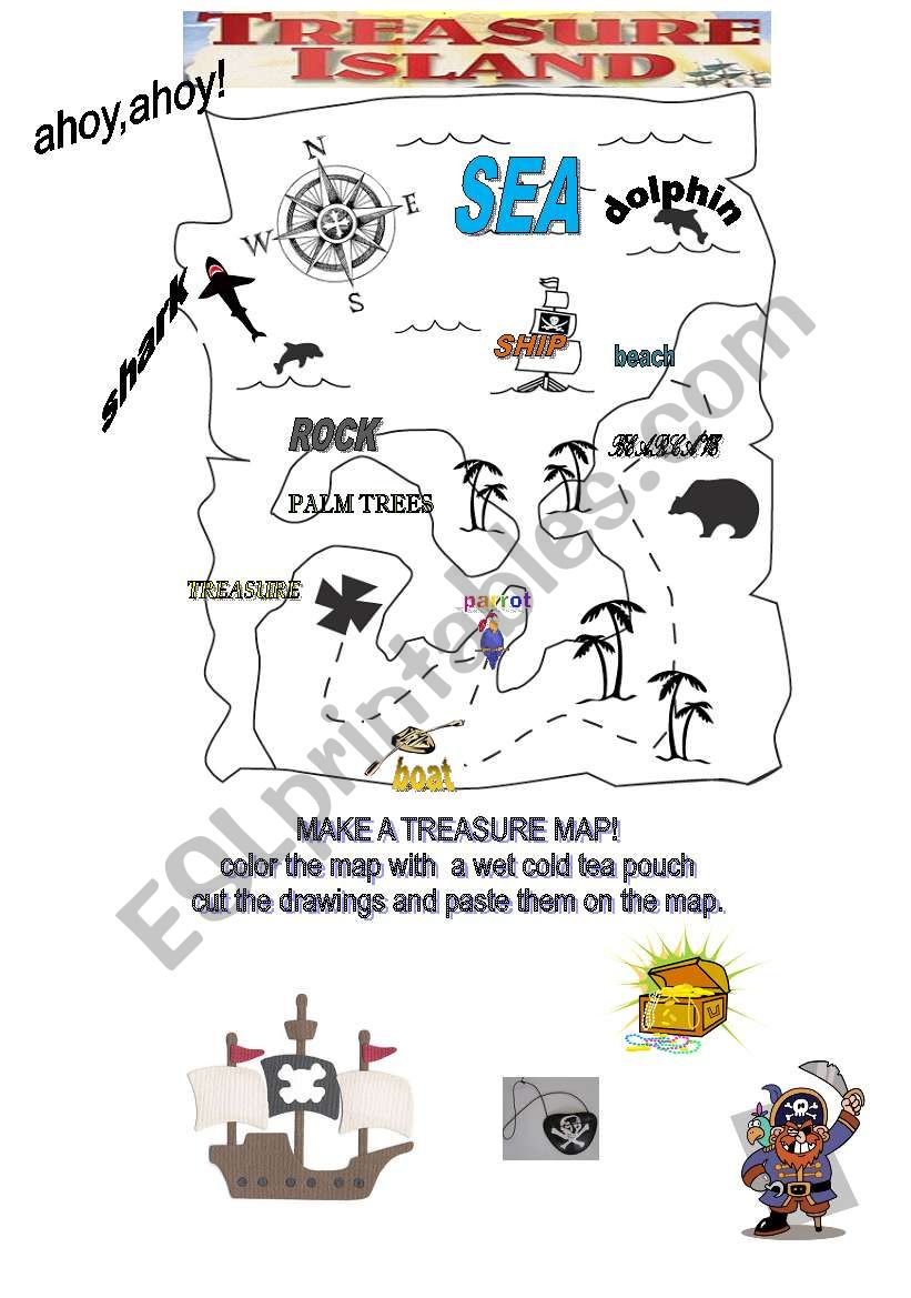 treasure map esl worksheet by adva. Black Bedroom Furniture Sets. Home Design Ideas
