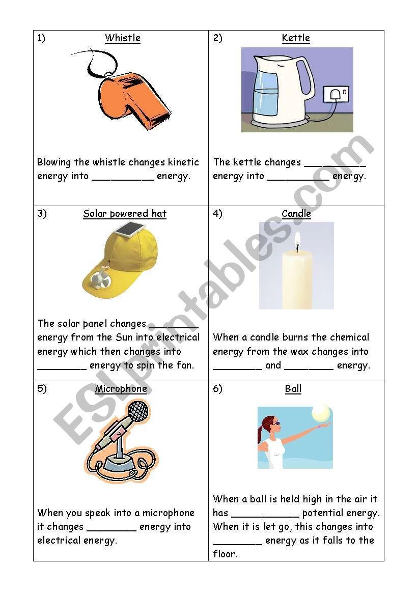 English Worksheets Energy Transfers