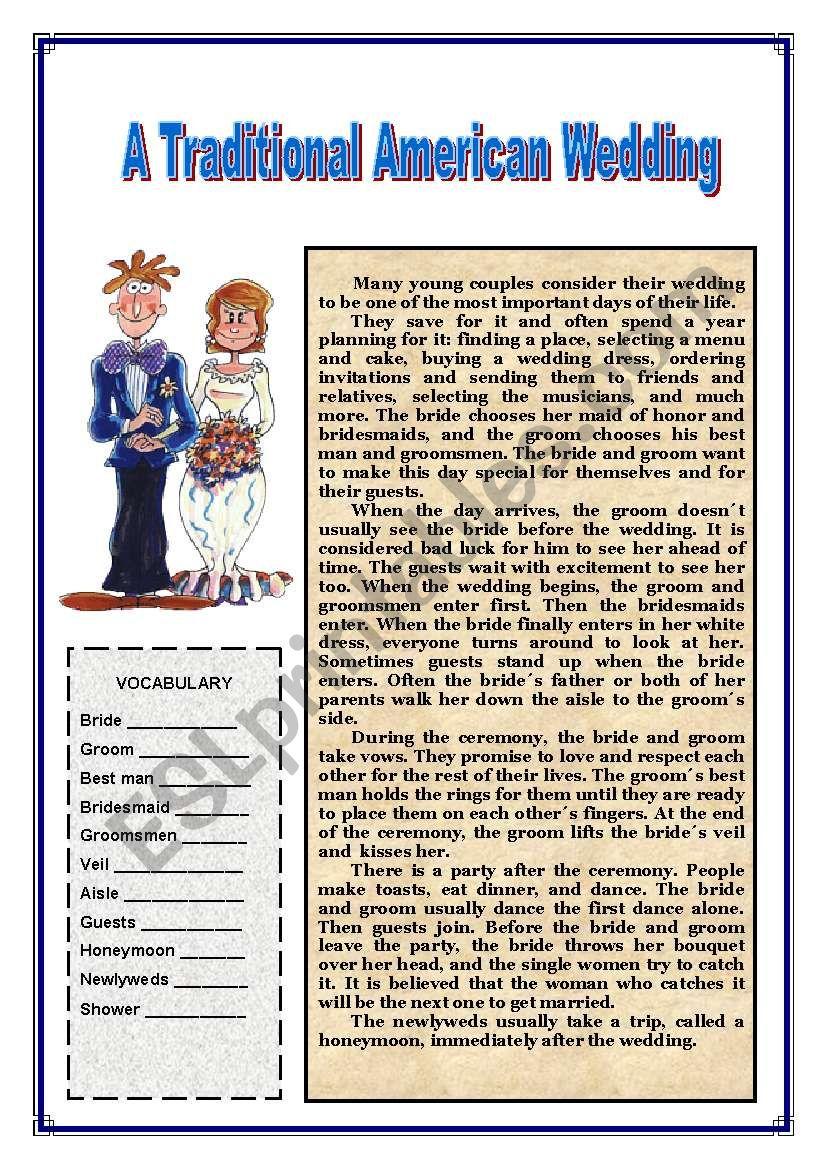 Traditional American Wedding worksheet