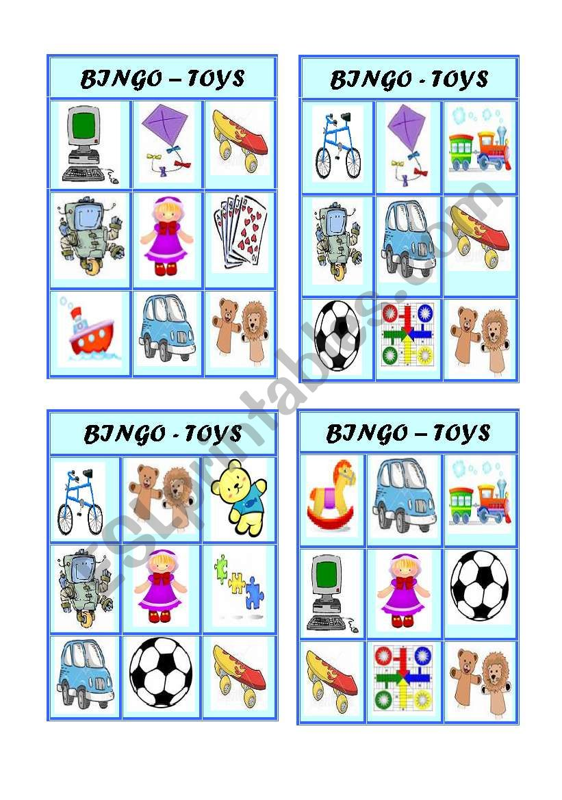 Bingo - Toys - Part 2 of 3 worksheet