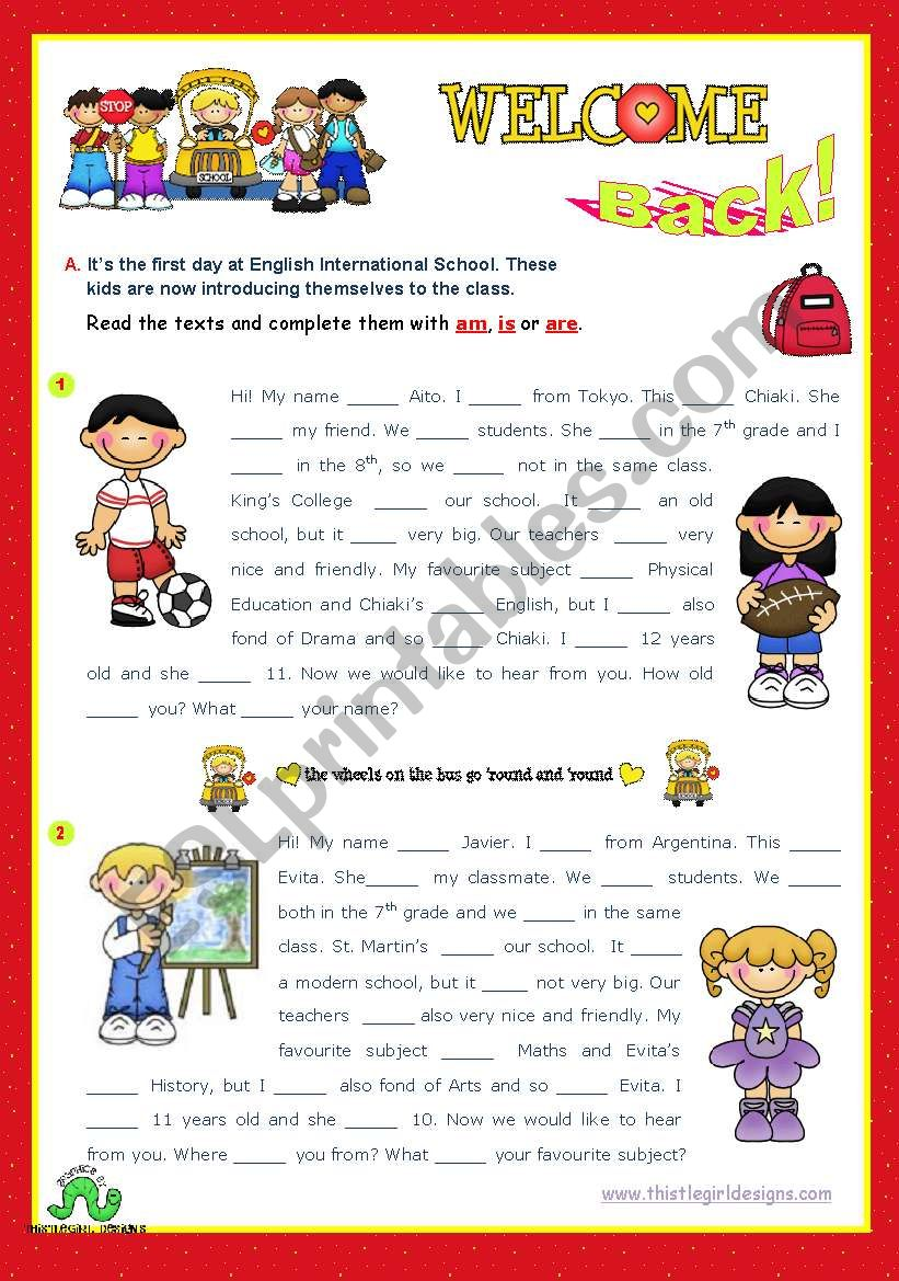 Back to School series  -  Focus on grammar: am, is, are  (1/2)