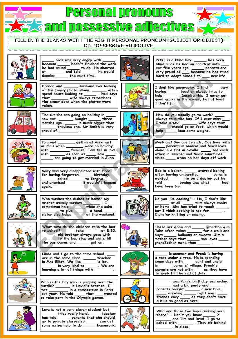 PERSONAL PRONOUNS AND POSSESSIVE ADJECTIVES (B&W VERSION INCLUDED)