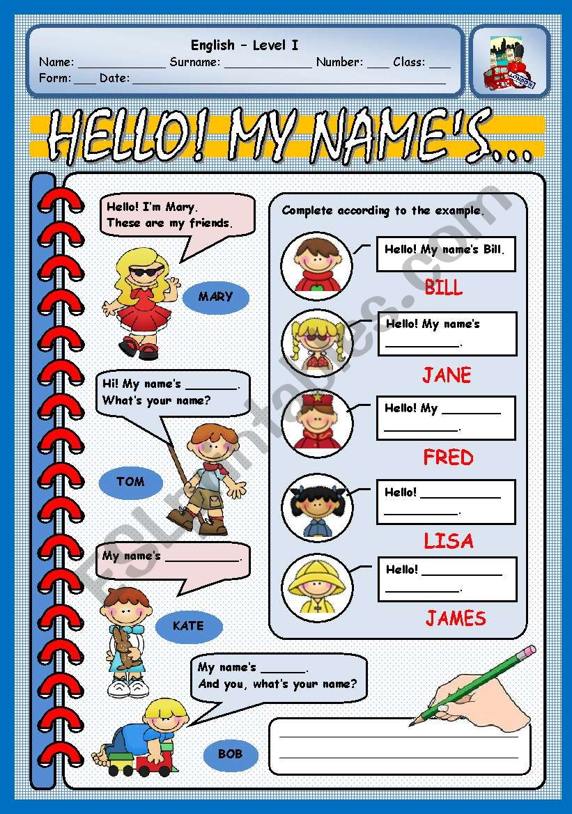 HELLO! MY NAME´S... worksheet