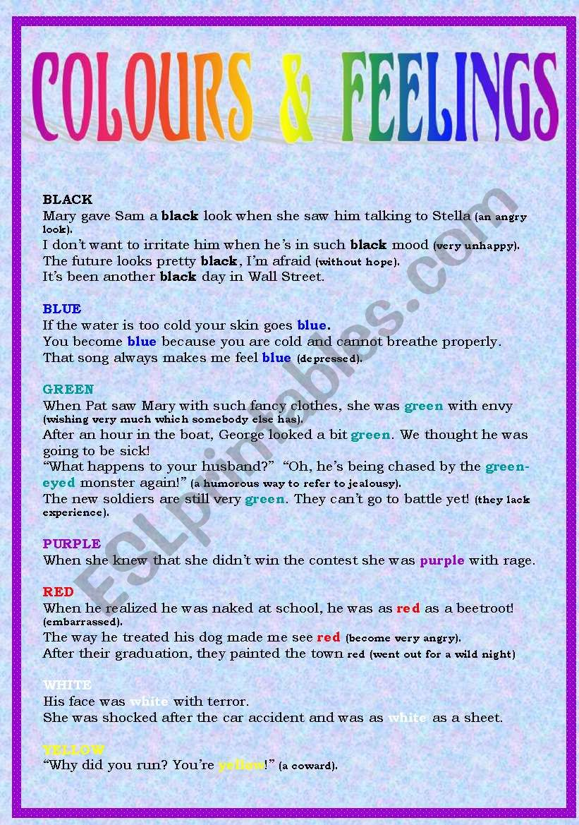 Colours and feelings: expressions (1/2)