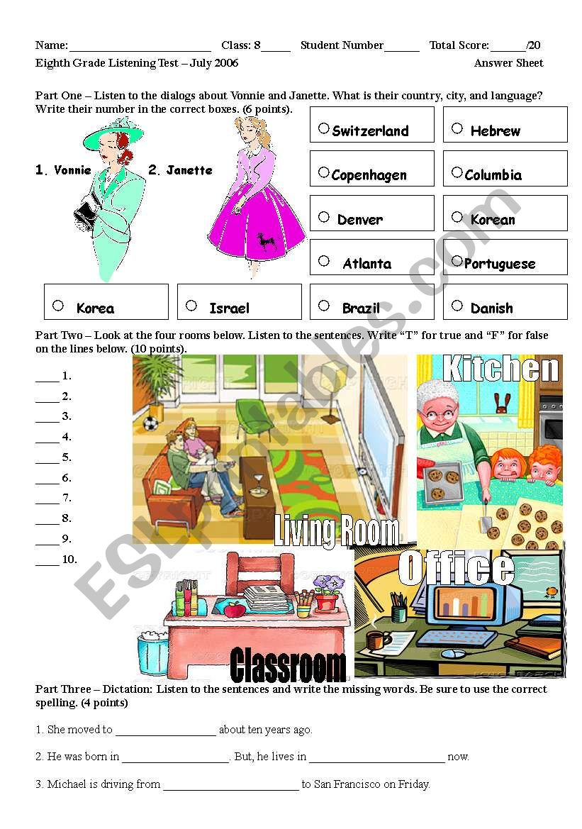 listening test prepositions of location esl worksheet by smithdab. Black Bedroom Furniture Sets. Home Design Ideas