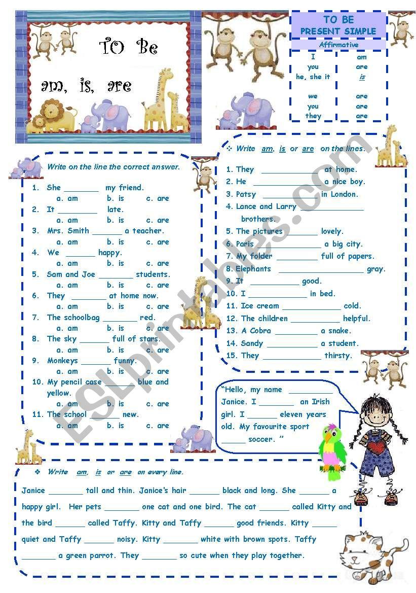 TO BE - present simple 2 worksheet