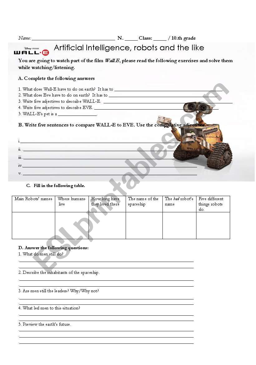 Wall-E in the classroom - ESL worksheet by jpais