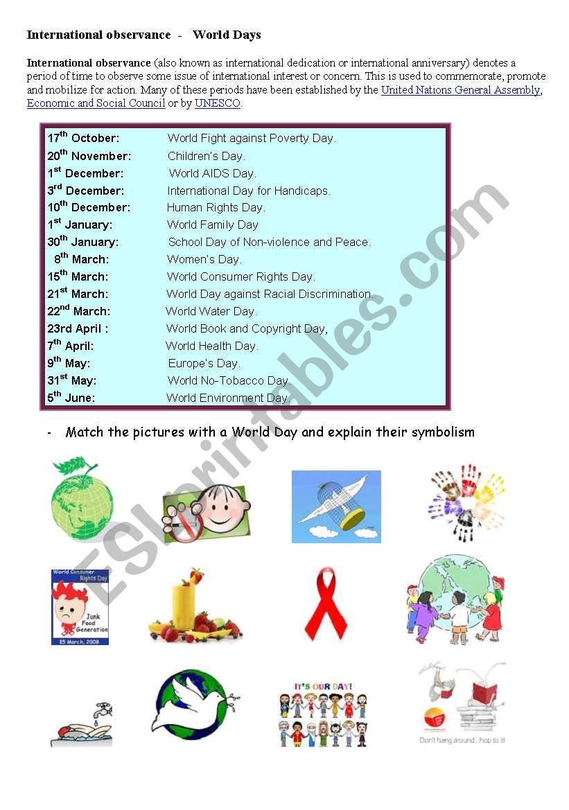 English worksheets: WORLD DAYS