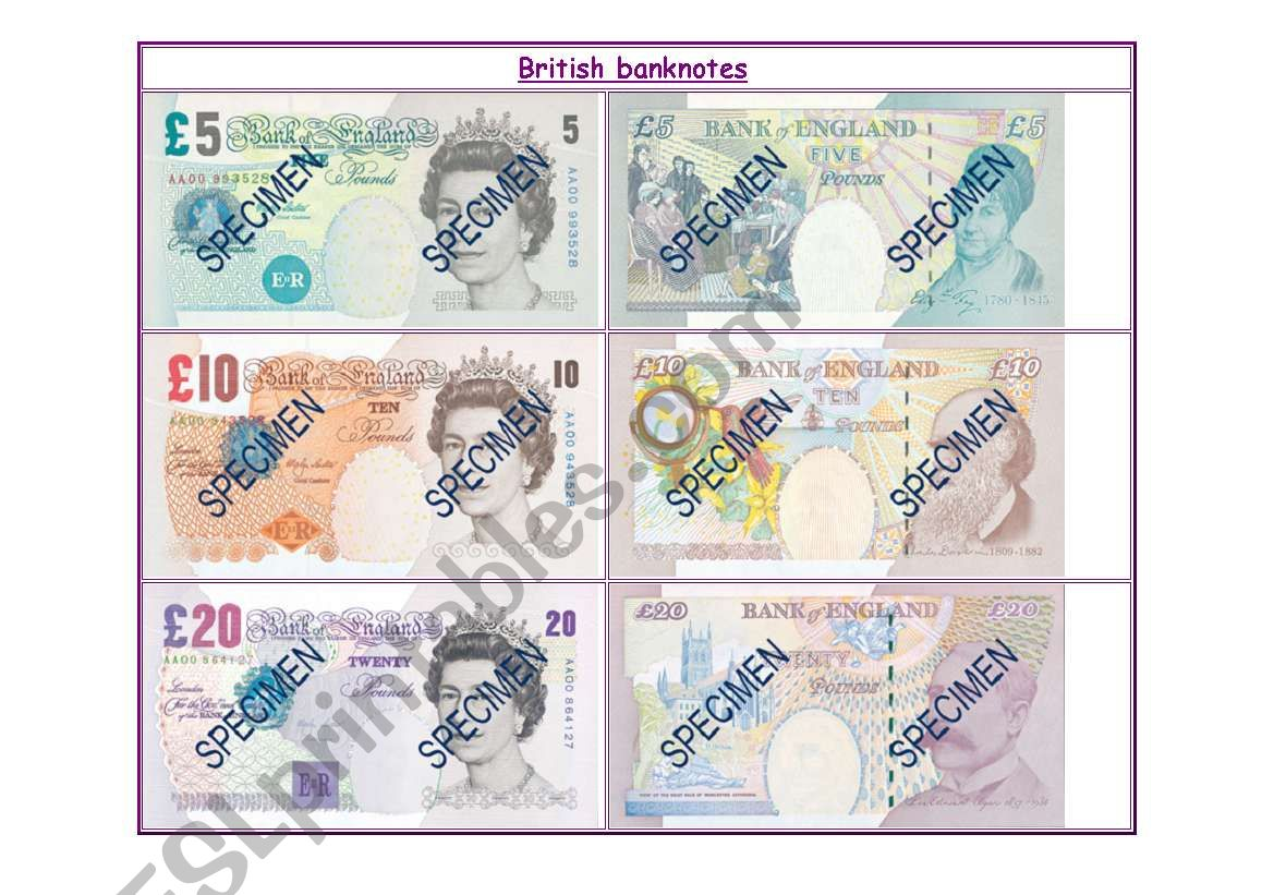 British banknotes worksheet