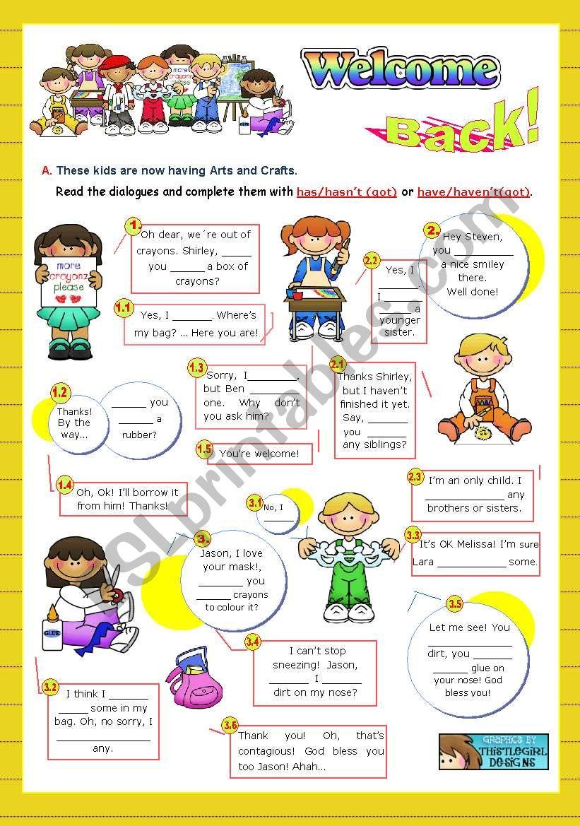Back to School  -  Focus on Grammar: has/hasn´t(got) or have/haven´t(got)   (2/2)