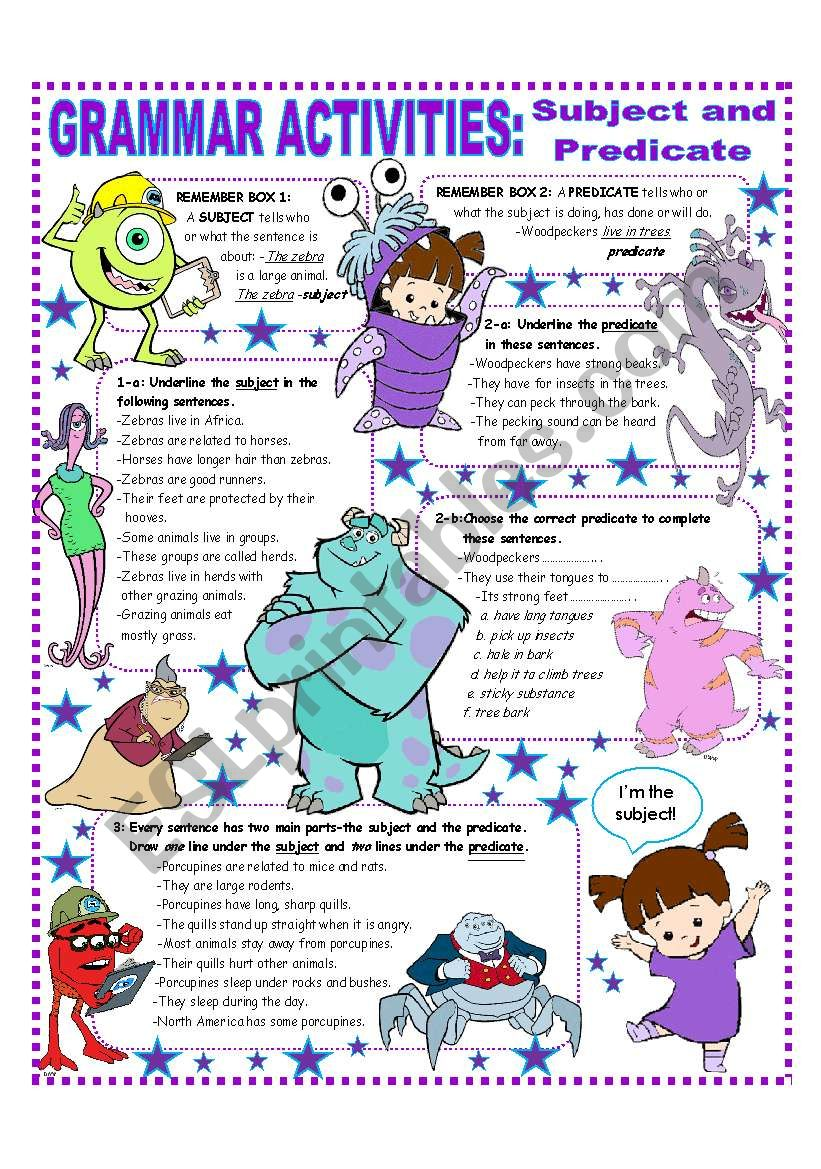SUBJECT AND PREDICATE - EASY GRAMMAR REFERENCE AND ACTIVITIES - ESL ...