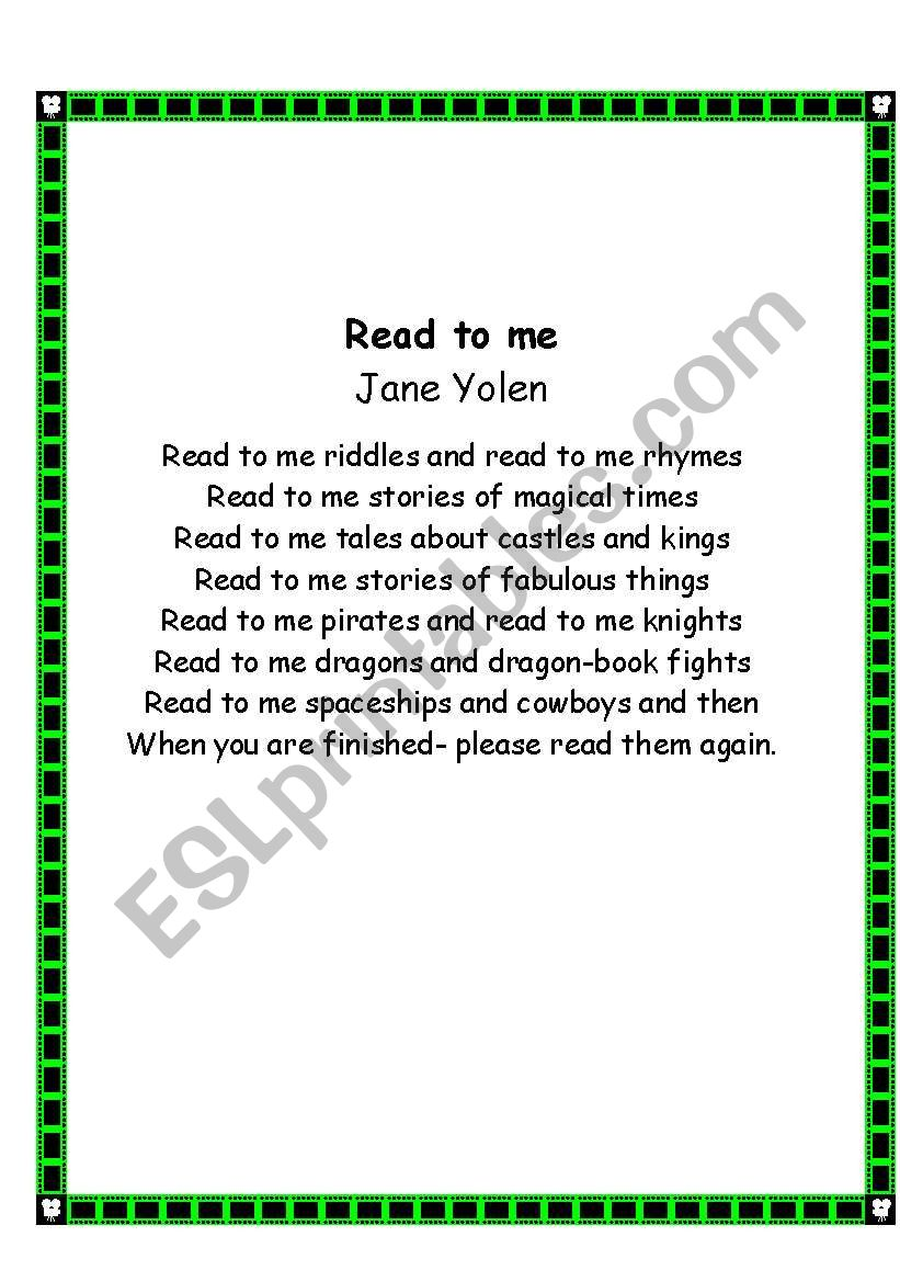 24 poems about reading - ESL worksheet by dk7711