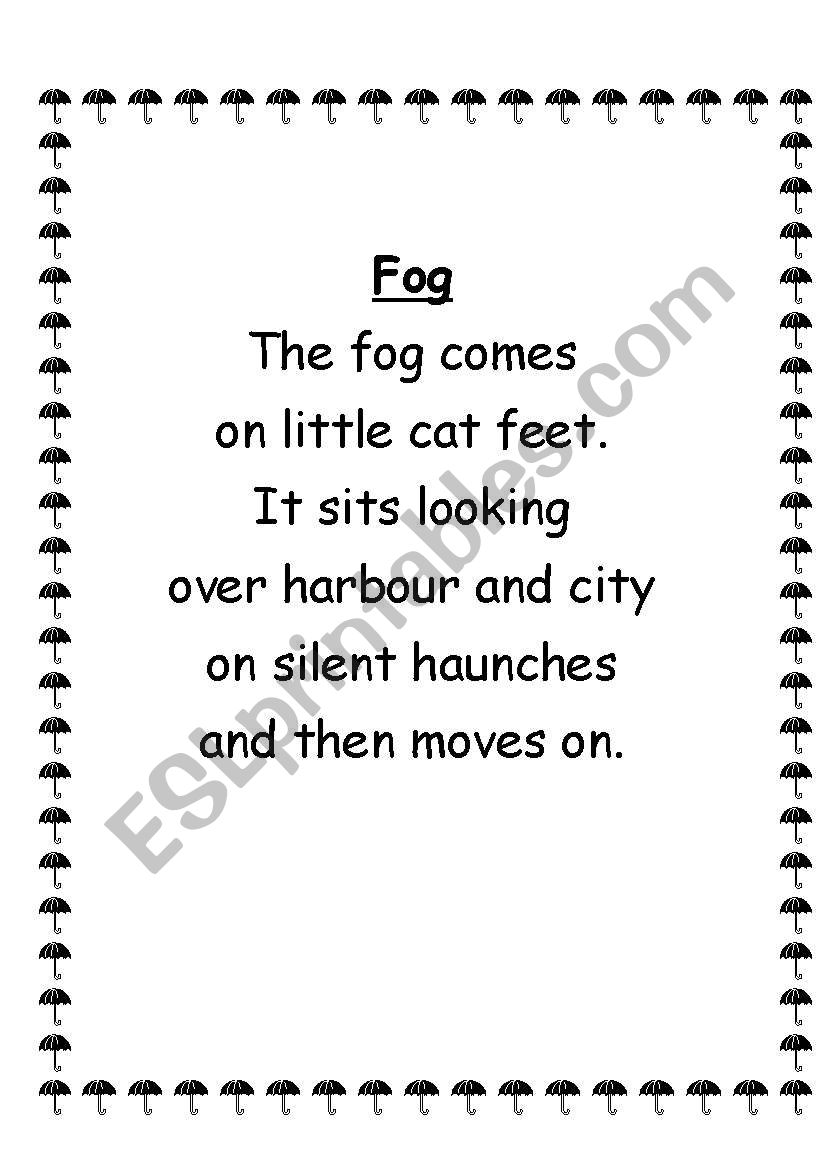 23 weather poems worksheet