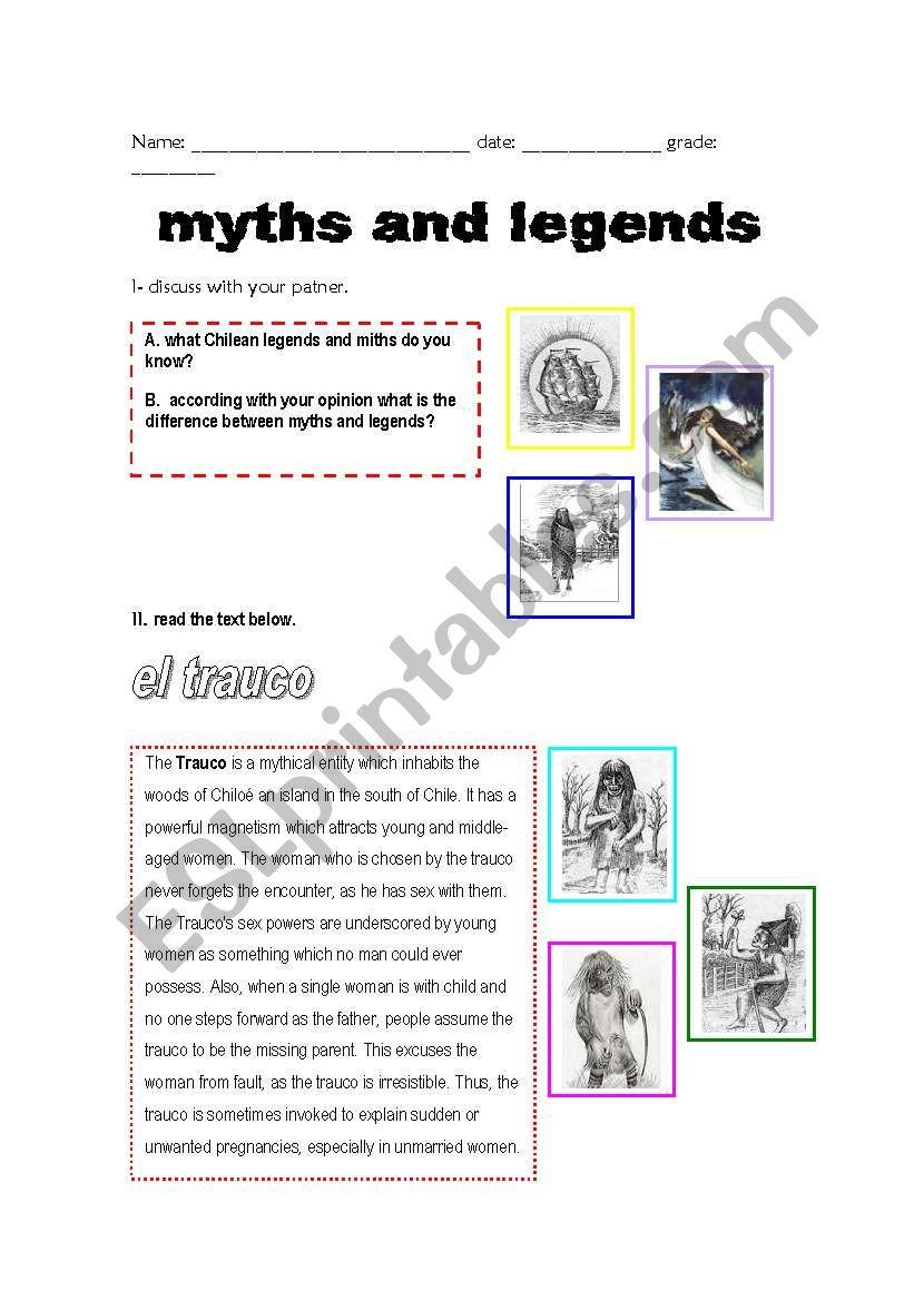 Chilean Myths And Legends Esl Worksheet By Ranita23