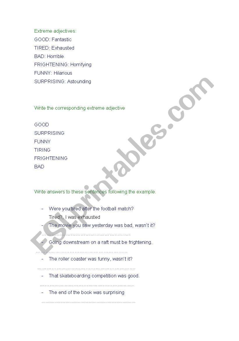 English Worksheets Extreme Adjectives