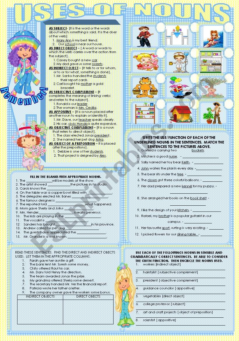 USES OF NOUNS worksheet