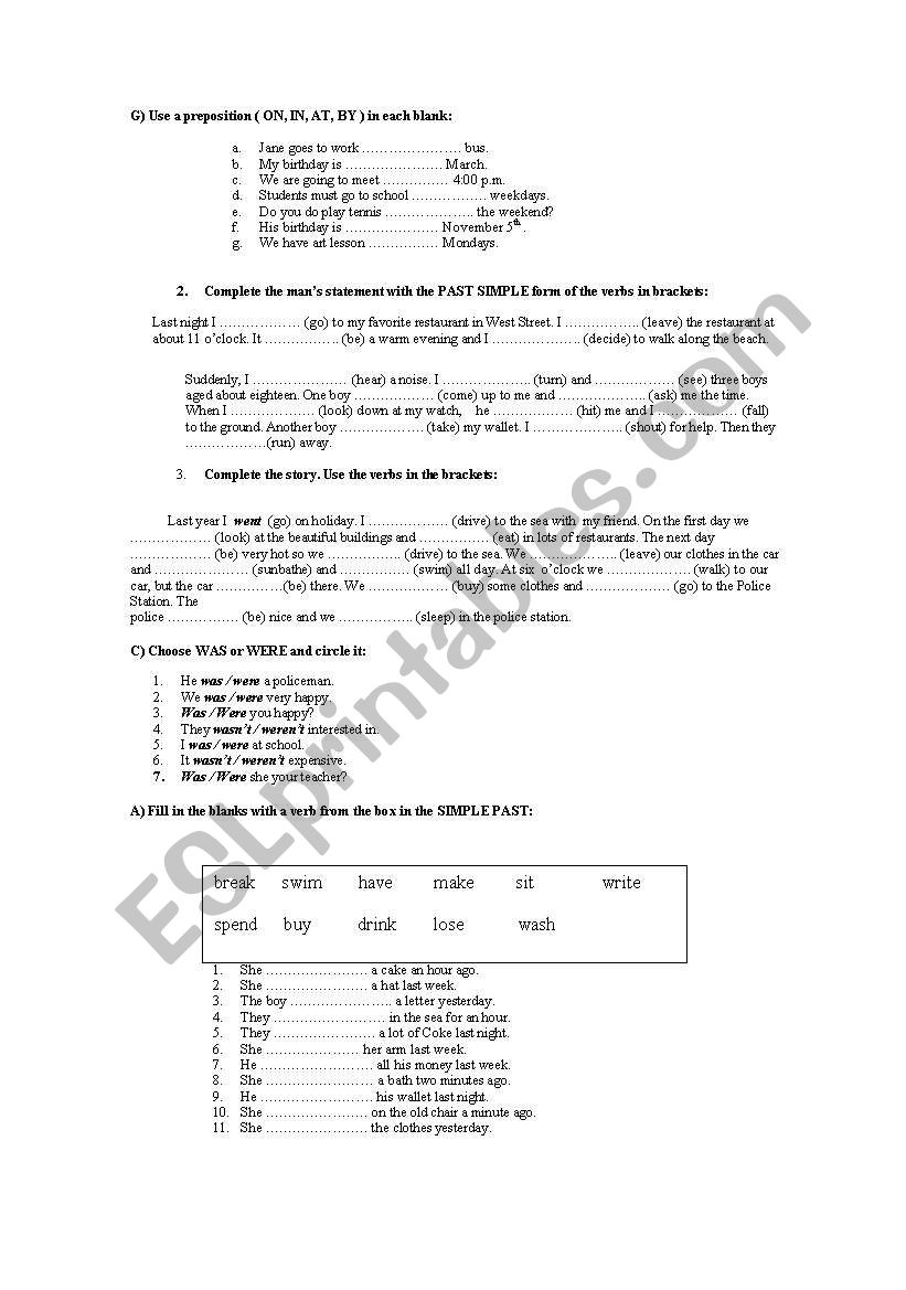 Exam for Adults Beginners worksheet