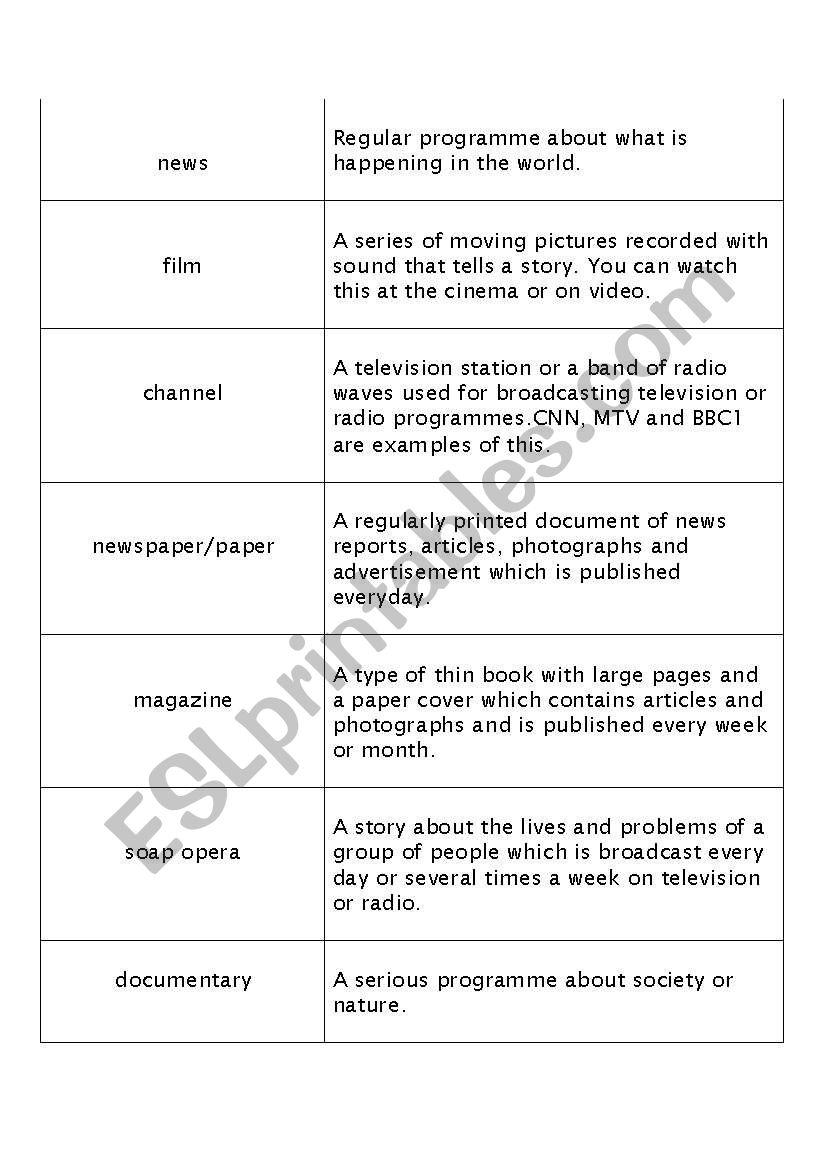 The media - ESL worksheet by suniela