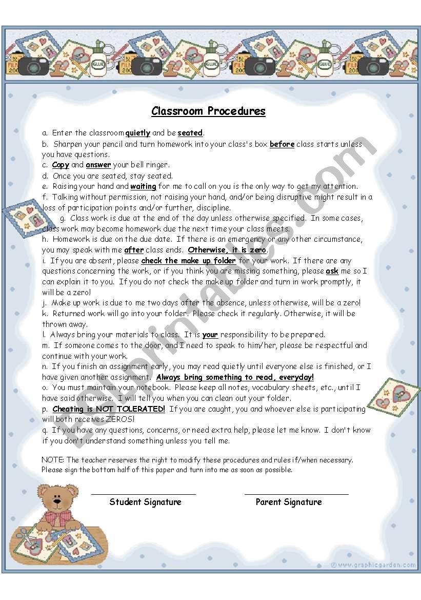 Classroom Procedures worksheet