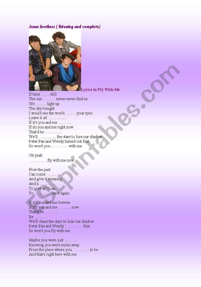 English Worksheets Jonas Brothers Lyrics