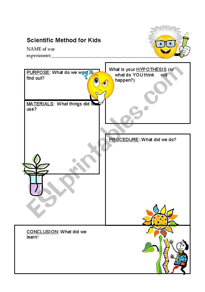 Scientific Method for young children - ESL worksheet by oksanasmom With Regard To Scientific Method Worksheet Elementary