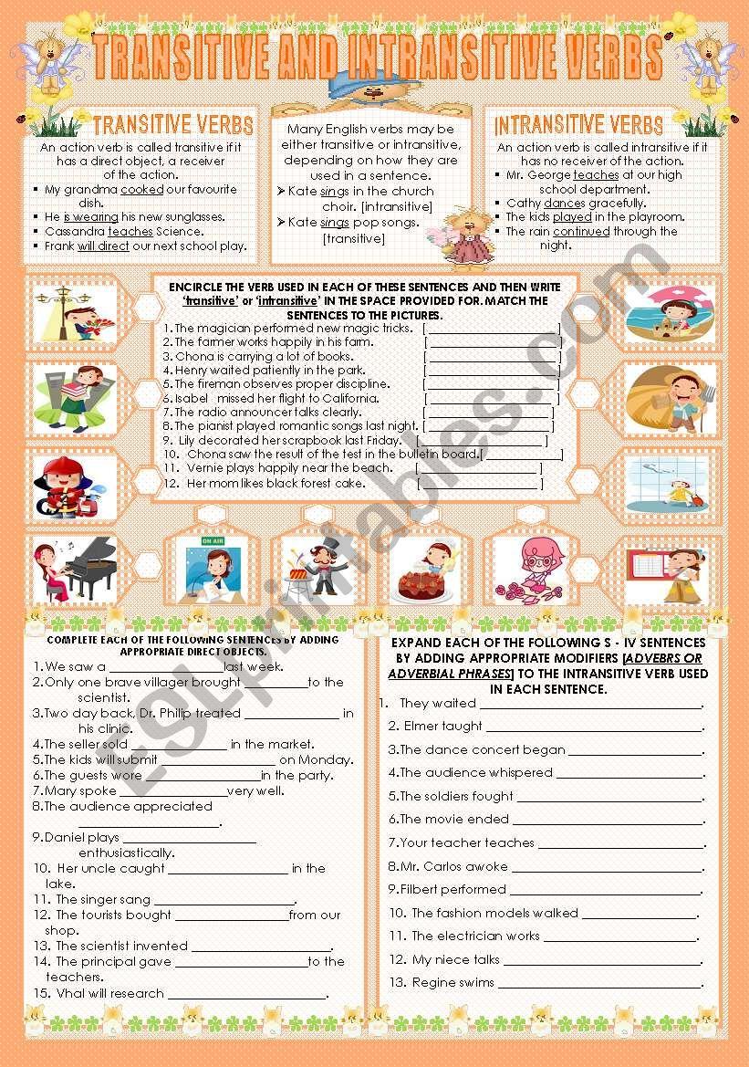 Transitive And Intransitive Verbs Esl Worksheet By Mavic15