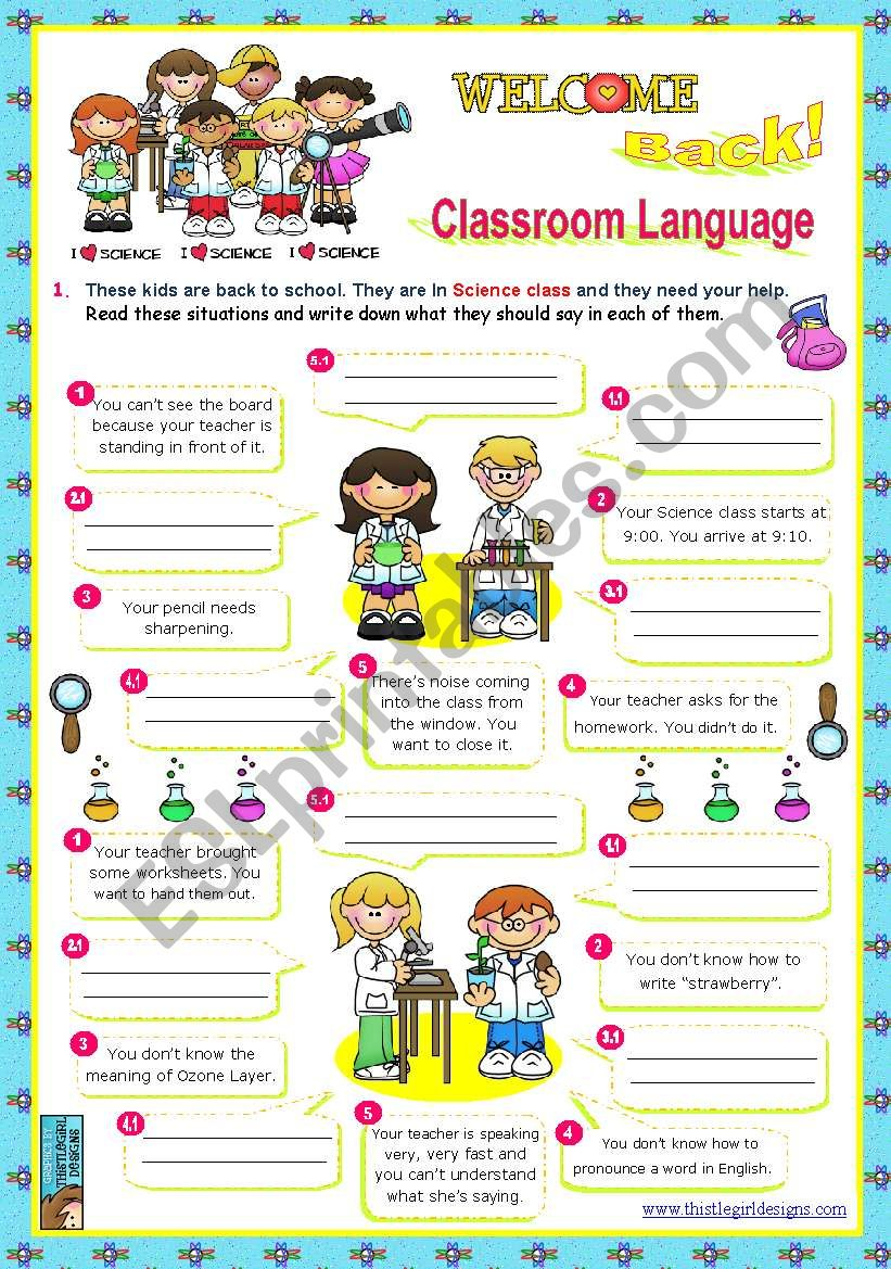 Back to School  Classroom Language  (1/2)