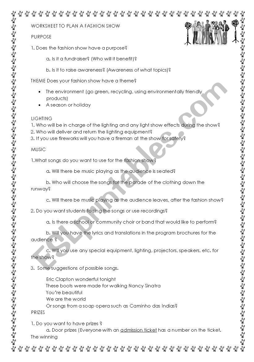 Fundraiser or multidisciplinary project: Fashion Show planning guide checklist worksheet