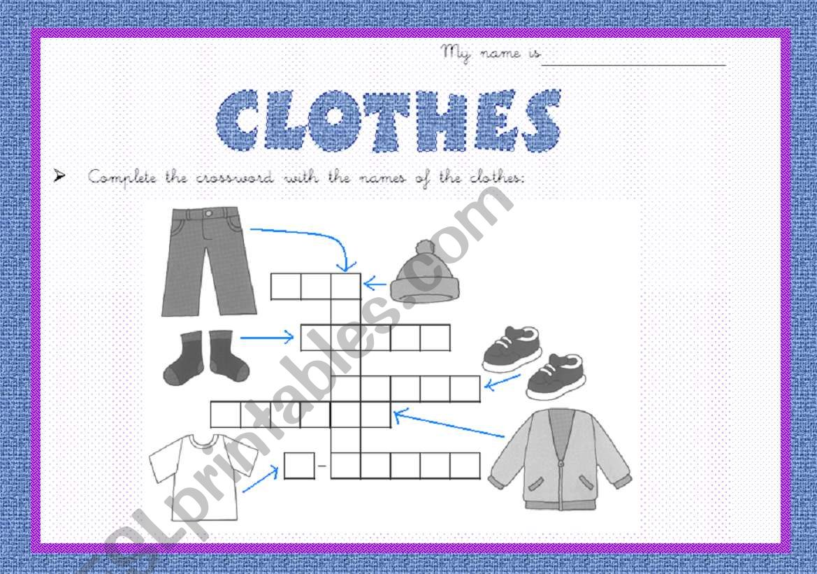Clothes cross-word worksheet