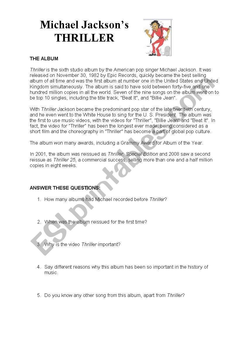 Michael Jackson´s Thriller worksheet