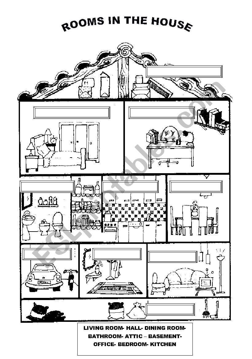 House Rooms Worksheet: ESL Worksheet By Ilona