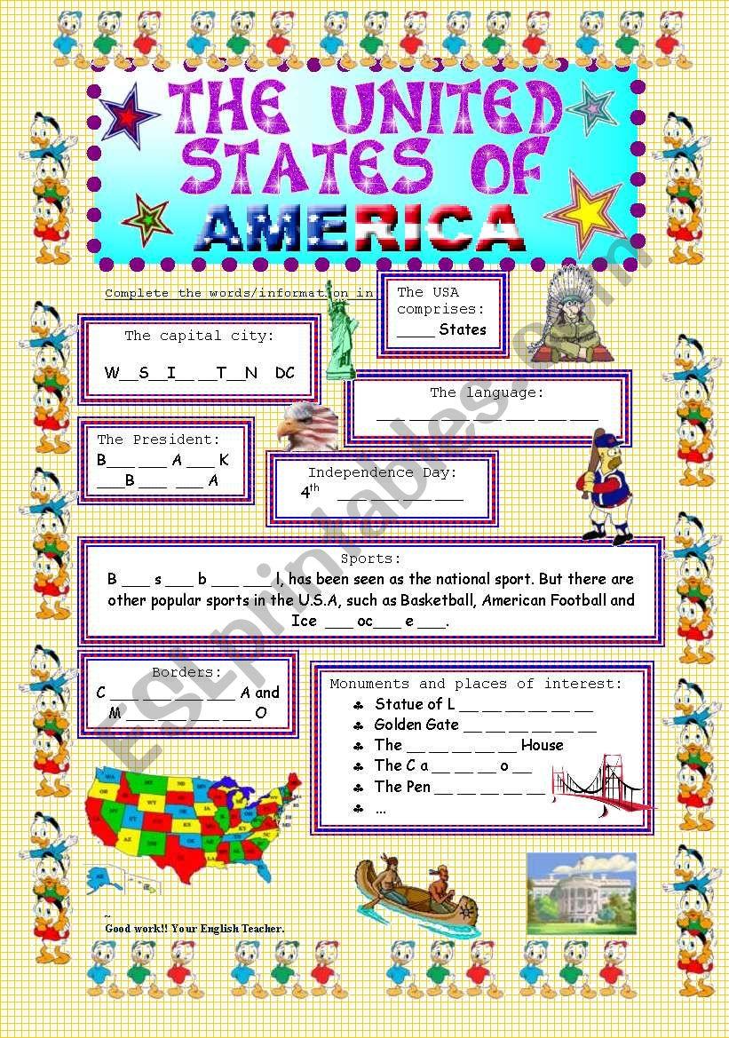 The USA worksheet