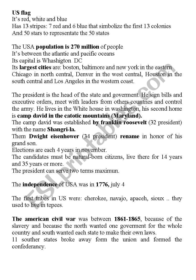 american culture worksheet