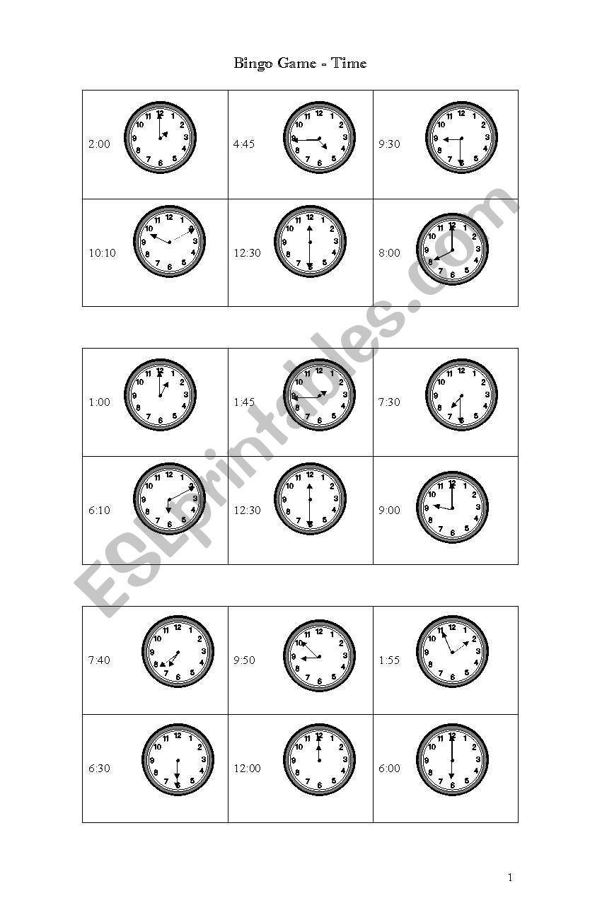Time -Bingo Game worksheet
