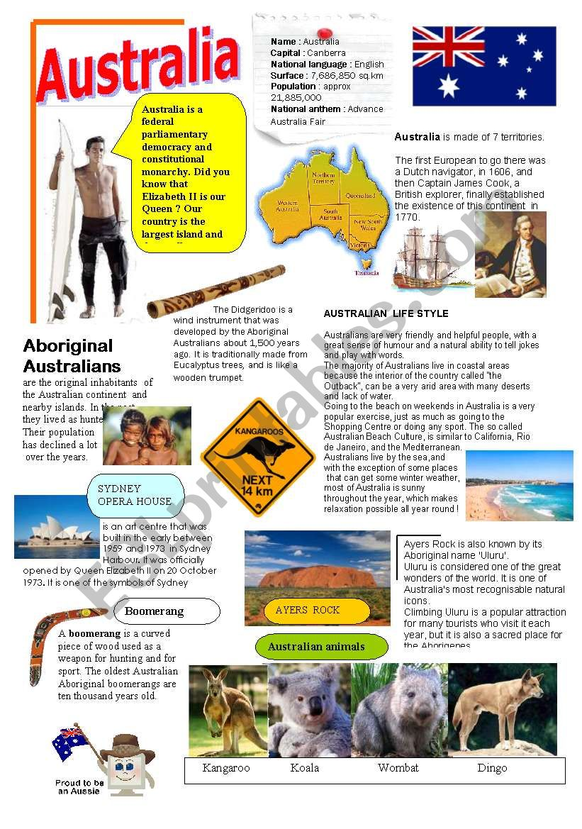 Australia - ESL worksheet by Minie