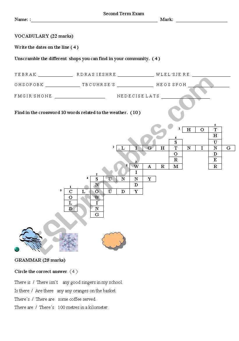 exam 100  editable worksheet