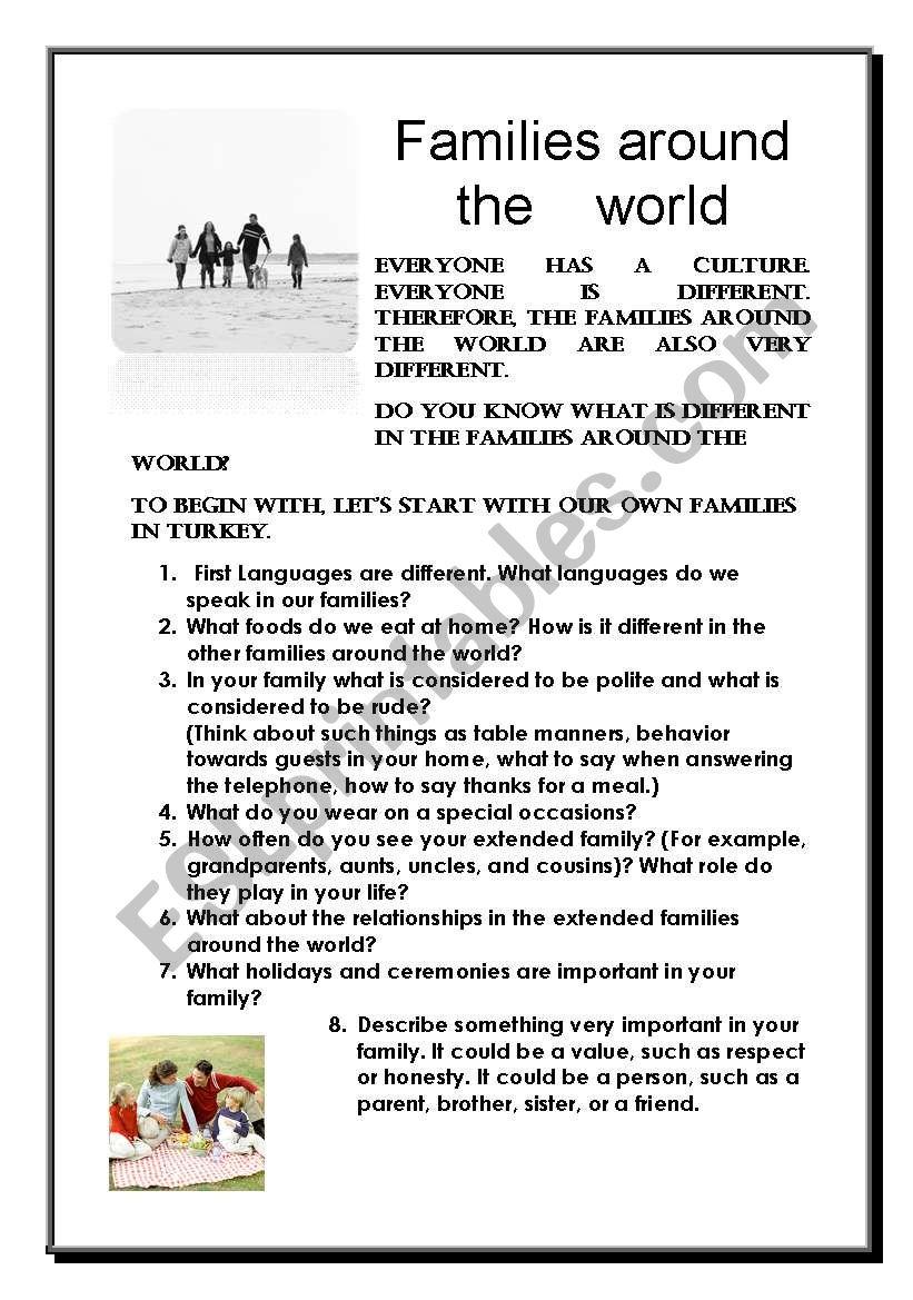 Families around the world - ESL worksheet by Hülya Bilgiç
