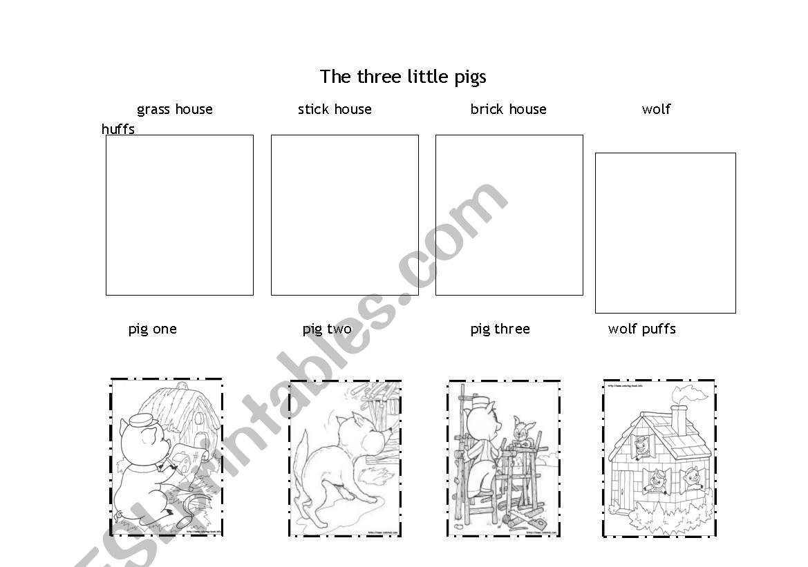 Story sequence The Three Little pigs