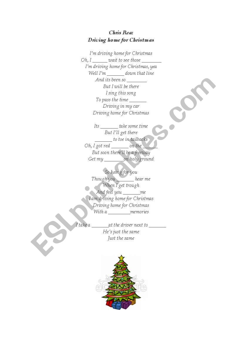 English worksheets: Chris Rea - Driving home for Christmas