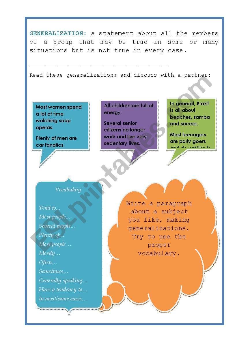generalizations worksheet kidz activities. Black Bedroom Furniture Sets. Home Design Ideas
