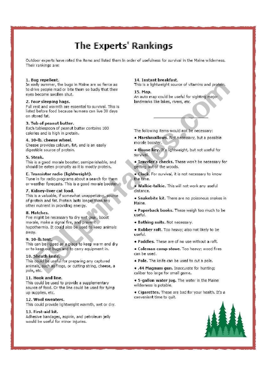Wilderness Survival Exercise Esl Worksheet By Babz