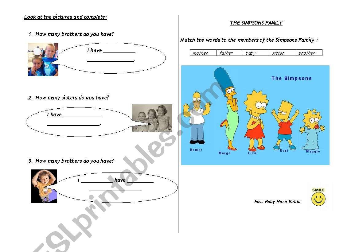 FAMILY WORKSHEET worksheet