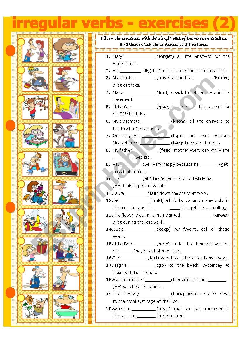IRREGULAR VERBS - EXERCISE 2 worksheet