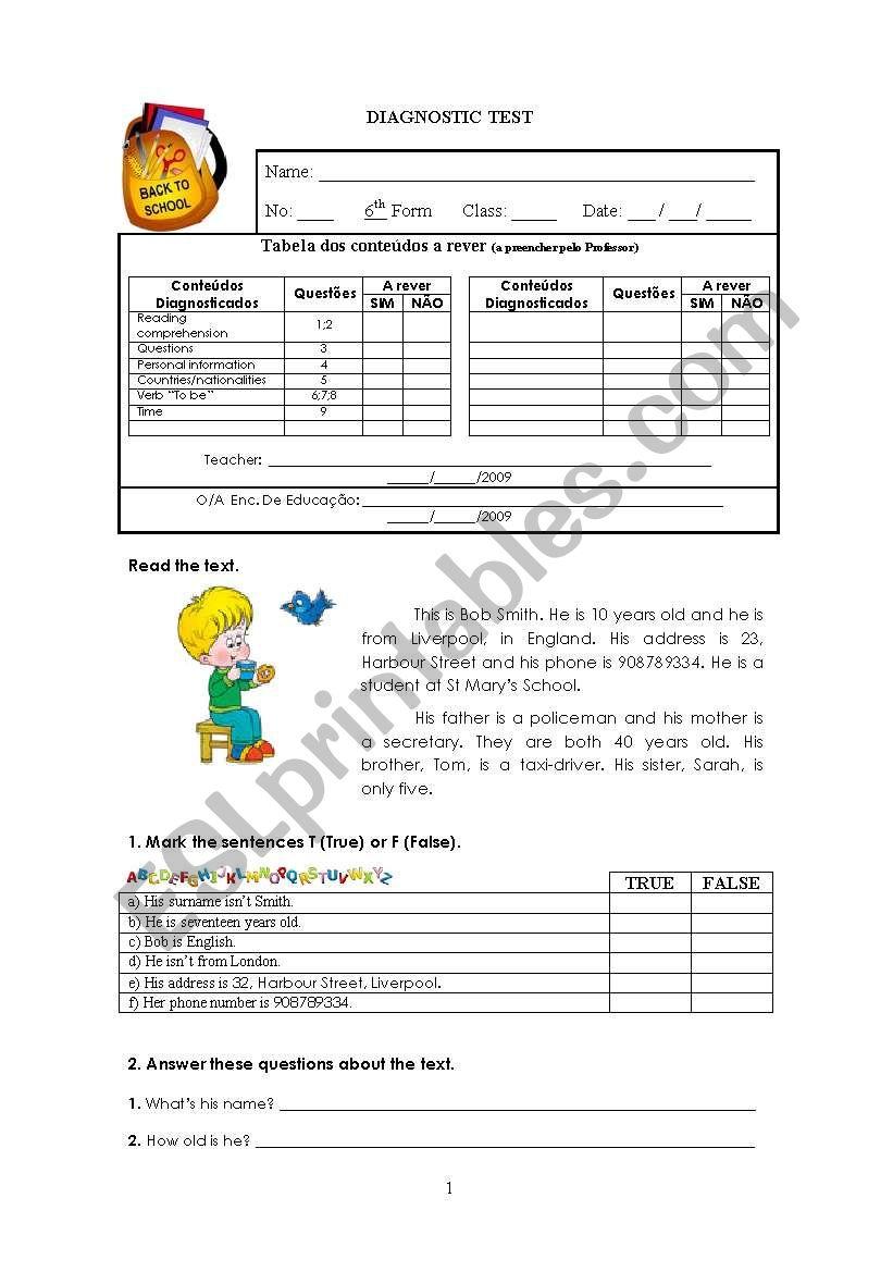 6th grade math diagnostic test pdf
